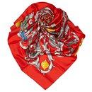 Hermes Red Le Mors a la Conetable Silk Scarf - Hermès