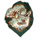 Hermes Green Bull and Mouth Regents Circus Piccadilly Silk Scarf - Hermès