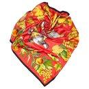 Hermes Red Fructidor Silk Scarf - Hermès
