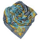 Hermes Blue Plumes et Grelots Silk Scarf - Hermès