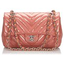 Chanel Pink Medium Patent Leather Chevron Single Flap Ba