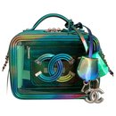 Small Green PVC Vanity Case with Rainbow Patent Leather - Chanel