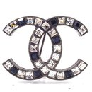Chanel Crystals Sapphire Blue CC Hardware Brooch