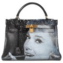 "Hermes Kelly bag 32 returned in black box leather customized ""Audrey Hepburn"" # 47 by PatBo - Hermès"