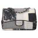 Chanel Classique Jumbo neuf en patchwork de PVC, cuir et tweed