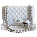 Rare Chanel White caviar jumbo classic flap bag