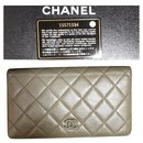 Chanel olive green Yen lambskin wallet