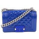 Chanel Boy Small Plexiglass Blue Patent Leather