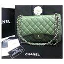 Chanel green lambskin Jumbo flap bag