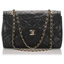 Chanel Black Lambskin Leather lined Flap Shoulder Bag
