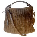 Burberry Lowry taupe ruffle leather shoulder bag