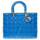 Christian Dior large model handbag in royal blue cannage leather, Garniture en métal argenté