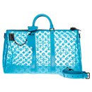 Sold out - Louis Vuitton Keepall triangle bag 50 monogram turquoise mesh strap, new condition!