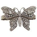 Bracelet Gucci réglable, butterfly. argentée et strass