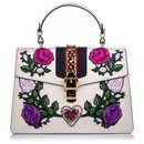 Gucci White Medium Embroidered Leather Sylvie Satchel