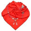 Écharpe en soie imprimée rouge Cartier