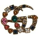 Bague G doublée de Gucci avec cristaux multicolores - portée 2 doigts
