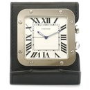 Cartier Silver Santos de Cartier Travel Alarm Clock