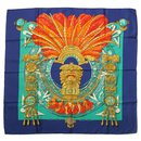 Hermes Blue Mexique Silk Scarf - Hermès