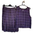 Chanel Purple Brown Lucky Clover CC Top & Skirt Set