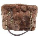 Chanel handbag in brown rabbit fur.