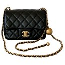 Runway Black Square Mini Flap Pearl Crush Bag - Chanel