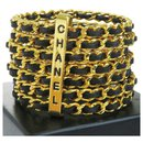 Cuir tressé plaqué or 7 Bracelet manchette anneau - Chanel
