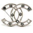dark silver cc pearls rhinestones - Chanel