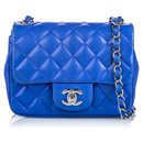 Chanel Blue Classic Mini Square Lambskin Leather Single Flap Bag