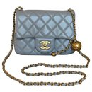 Runway Light Grey Square Mini Flap Pearl Crush Bag - Chanel