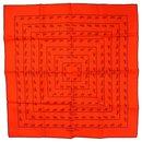 Hermes Orange Allures Silk Pocket Square - Hermès