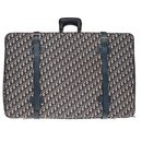 Vintage Christian Dior suitcase in oblique monogram canvas and blue leather