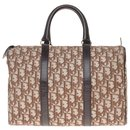 "Christian Dior ""Boston"" bowling bag in oblique monogram Dior canvas and brown leather"