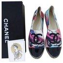 NWOB CHANEL Textile Petent cuir Logo CC Espadrilles Sz 40 - Chanel