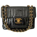 Patent Vertical Quilted Jumbo Flap Black Shoulder - Chanel