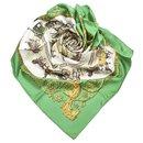 Hermes Green La Promenade De Longchamp Silk Scarf - Hermès