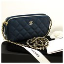 CHANEL Caviar Navy Wallet On Chain WOC W Zip Chain Sac à bandoulière - Chanel