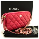 CHANEL Red Wallet On Chain WOC lined Zip Chain Shoulder Bag - Chanel