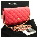 CHANEL Caviar Wallet On Chain WOC Pink Shoulder Bag Crossbody - Chanel