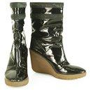 Celine Black Patent Leather Beige Crepe Wedge Platform Booties Shoes Boot 40 - Céline