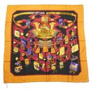 Hermès Carre90 REVERIES JAPONAISES Longing for Japan Womens scarf orange x black
