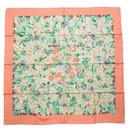 Hermès Carre90 l'ARBRE de SOiE silk wood mulberry Tree and silkworm scarf pink