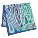 Hermès Carre140 Carre Geant a la Plume plumage Womens scarf blue x green