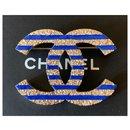 Large La Pausa CC Logo Blue Strips Metal Brooch Pin - Chanel