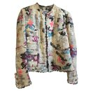100% Auth Chanel 07C Sought after GRAFFITI Ecru Tweed Lace CC logo Jacket FR38