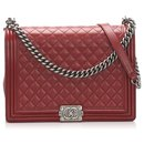 Chanel Red Large Boy Lambskin Leather Flap Bag
