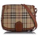 Burberry Brown Haymarket Check Crossbody Bag