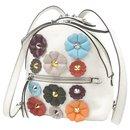 Fendi White Mini By The Way Flowerland Backpack