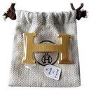 HERMES Boucle de ceinture H Authentique neuve - Dorée strié brillant (couleur or jaune) - Hermès