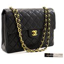 Chanel 2.55 lined Flap Square Chain Shoulder Bag Black Lambskin